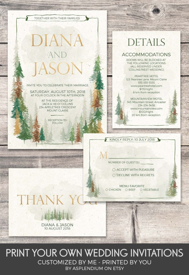 85455df9787 Woodsy Wedding Invitations Forest Wedding Invitation Printable Custom  Design Wedding Suite