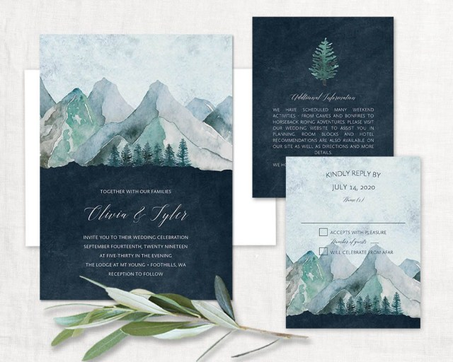 055349a88b8 Woodsy Wedding Invitations Mountain Wedding Invitation Printable Forest Wedding  Invitations