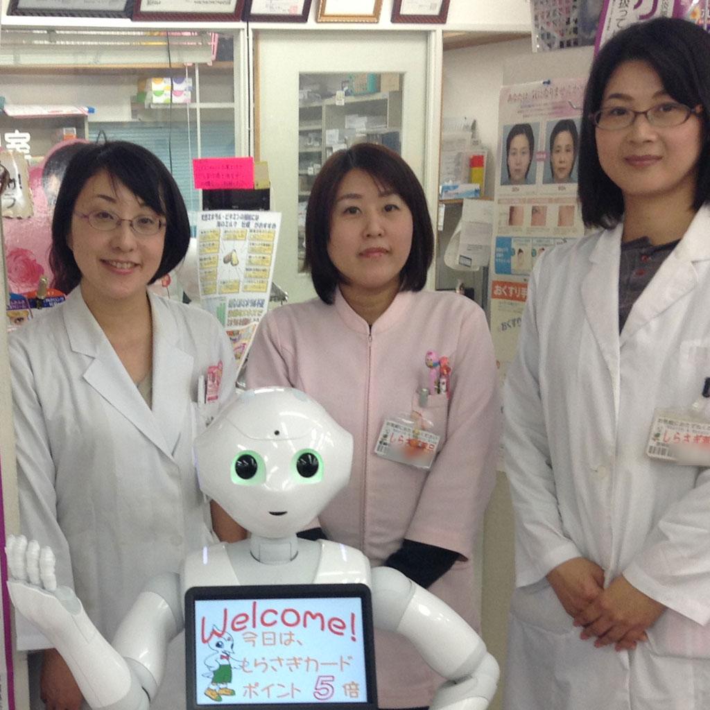 Pepper D.Jレポート2015112801 DenCubic しらさぎ薬局問屋町店(松山市)での接客サポート