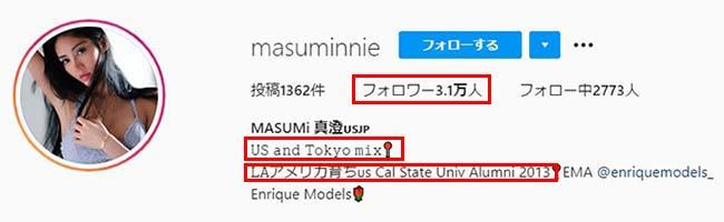 Masumi インスタ プロフィール