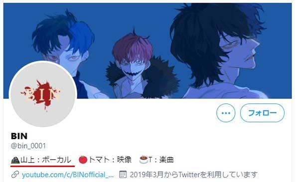 BINのTwitterアカウント
