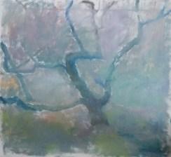 I tågen Olie på lærred 65x60 cm 2017
