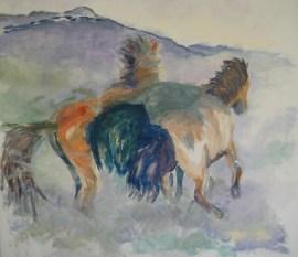 Islandske heste i galop Olie på lærred 70x65 cm 2016 Privateje