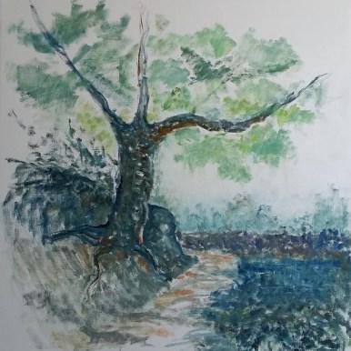 Det hældende træ Olie på lærred 75x80 cm