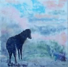 Doggi ved søen Olie på lærred 45x45 cm Privateje