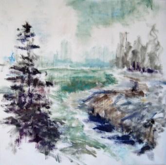 Landskab Olie på lærred 48x48 cm