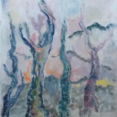 Dansende træer Olie på lærred 45x50 cm