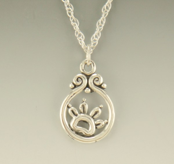 Paw Print Sterling Silver Pendant-p704 - Denim And
