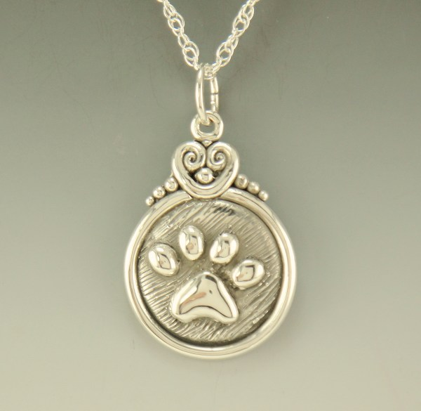 Paw Print Sterling Silver Pendant-p711 - Denim And