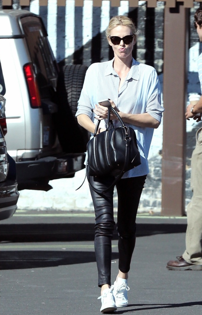 Charlize Theron in Skinny Leather Jeans  Denimology