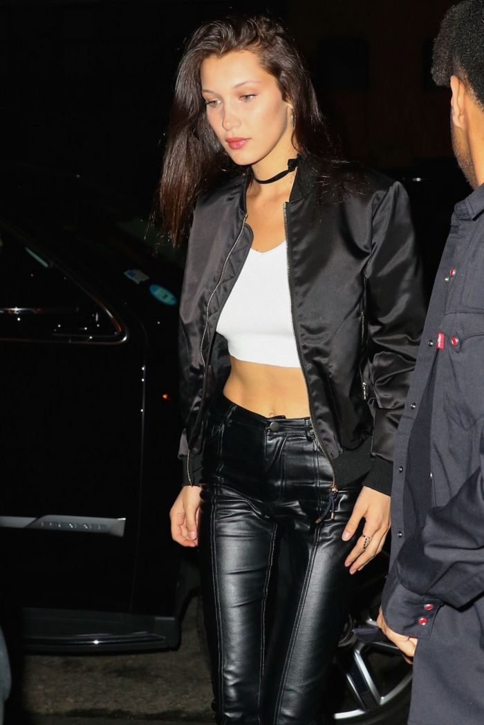 Bella Hadid in Skin Tight Leather Jeans  Denimology