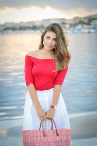 Bulgarian Fashion Blogger Denina Martin Dressed in Ivory and Red
