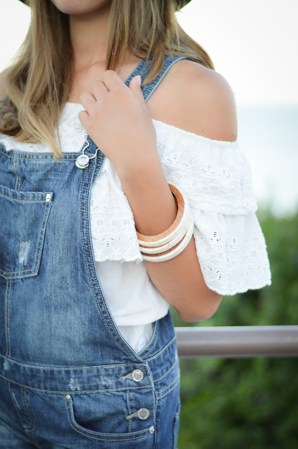 Dungarees, Off Shoulder Crochet Top and Wooden Bracelets worn by Denina Martin