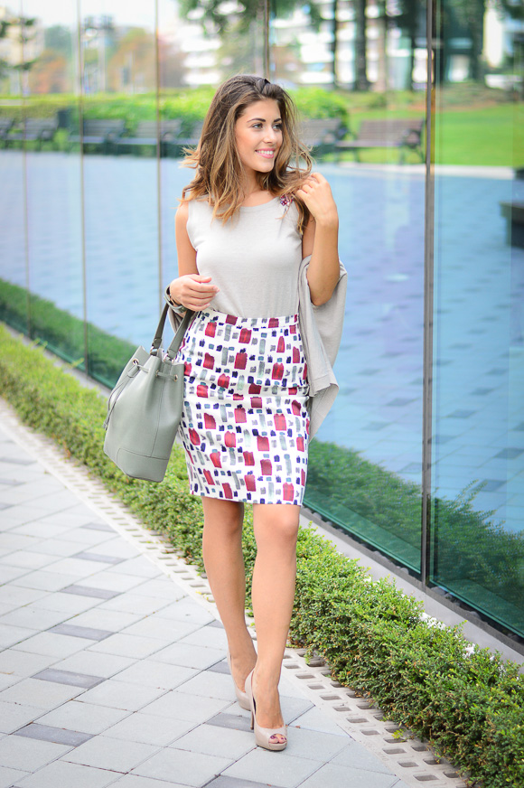 Patterned Pencil Skirt by Max Mara and MDL in Bulgaria Mall - styled by Denina Martin