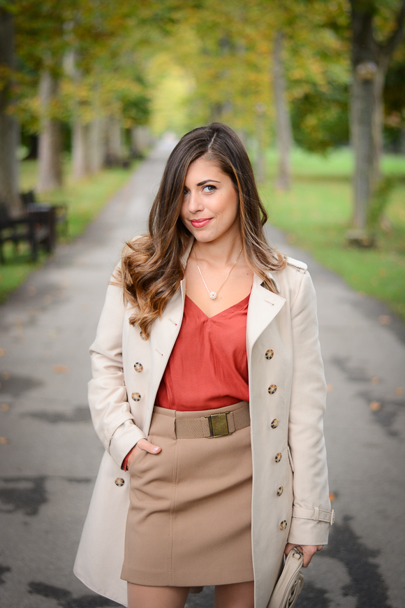 Denina Martin wearing styling a ZARA trench coat and pearls by AVA VIEW