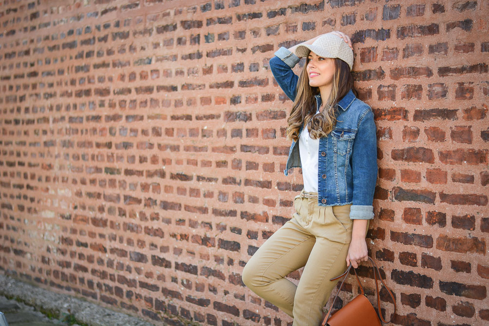Fashion Blogger Denina Martin wearing Embroidered Cap and Denim Jacket