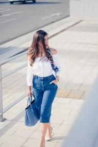 Denina Martin wearing Denim Culottes