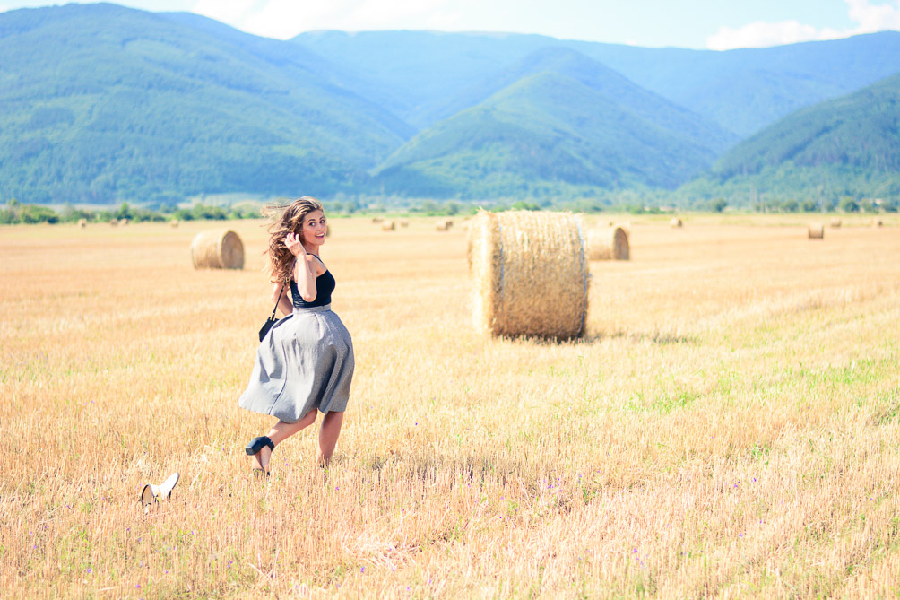 Running through Fields Of Gold Gingham Skirt