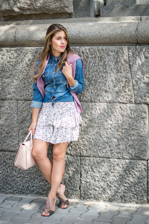 Denina Martin Wearing Denim Shirt Furla Tote Bag