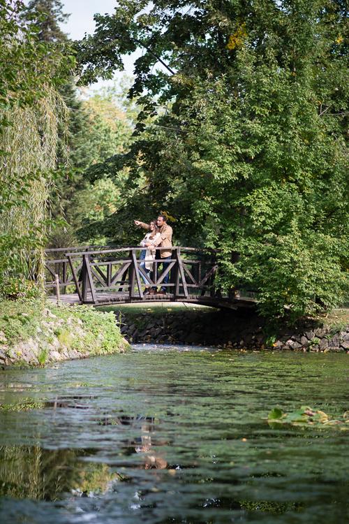 Fashion days adventure style traveller couple on the bridge Vrana Park