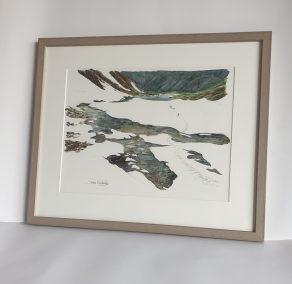 Neiges tardives au lac des Vaches, aquarelle 28x38