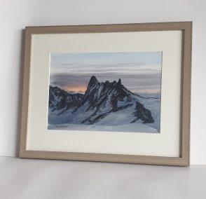 Lever du jour sur le col du Midi, aquarelle 21x30