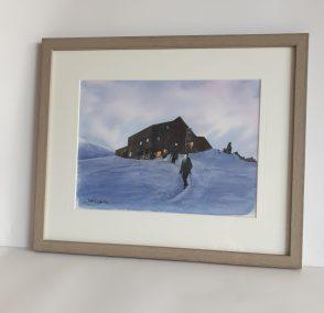 Départ à l'aube. Refuge des Cosmiques, aquarelle 23x30.5