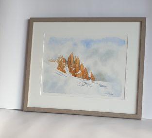 Aiguilles anonymes sur le glacier du Tour, aquarelle 26x35