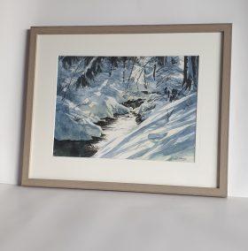 Ruisseau à l'Ecoutoux, aquarelle 26x36