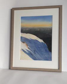 Sur l'arête des Bosses, aquarelle 26x36