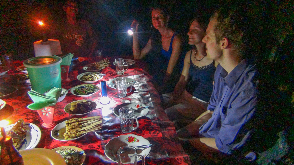We had a home-cooked dinner in Lovina, Bali. The lightbulb  was burned out, so we ate by candle and lamplight.