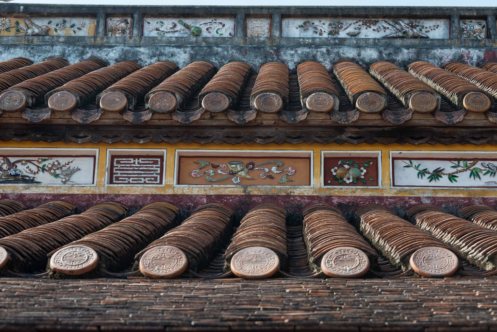 Old-style Vietnamese roof tiles.