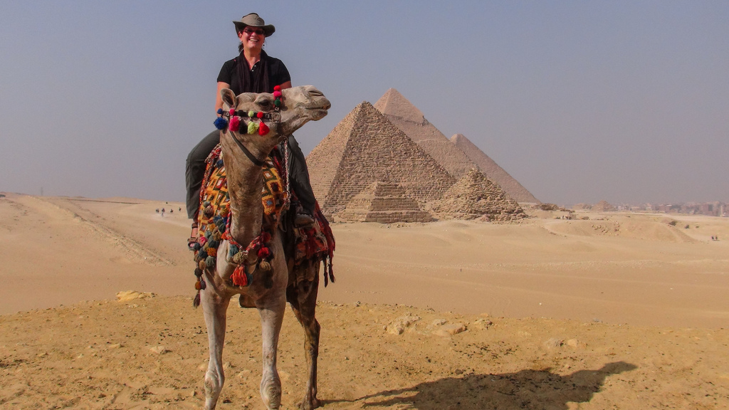 By circling behind the site on a horse or a camel, you can get a great view of all the pyramids together.