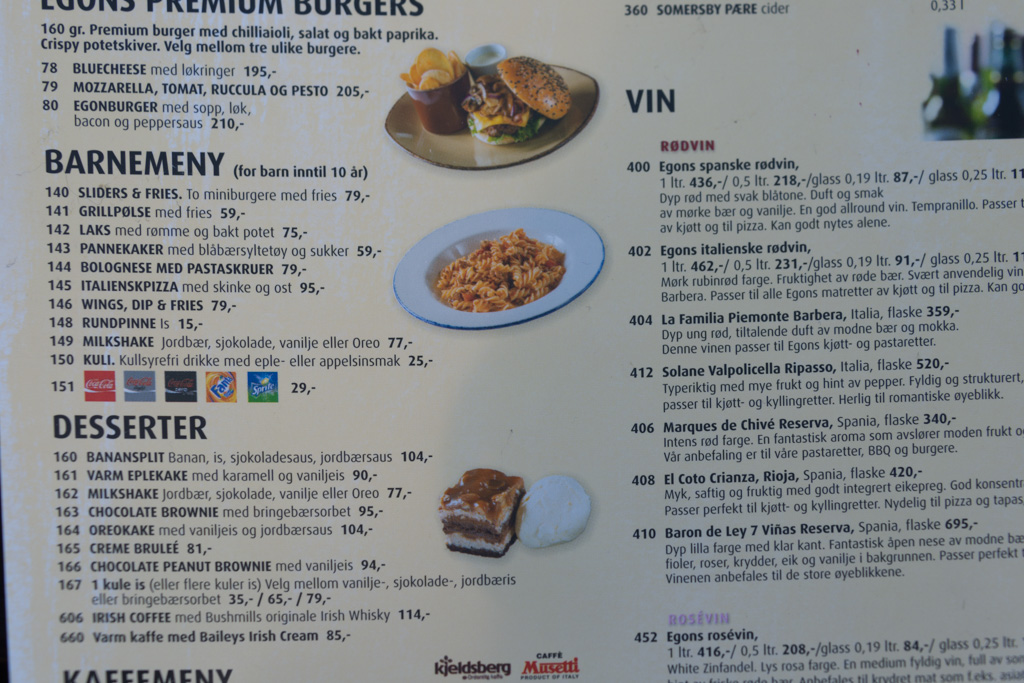 Norway: Home of the $30 hamburger. And the cheapest wine on this menu is $14/glass. Enjoy your lunch.