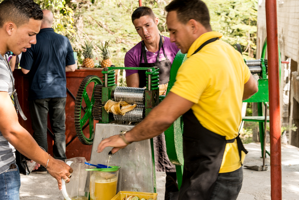 A snackbar served fresh-pressed sugar cane juice, generously spike with dark rum.