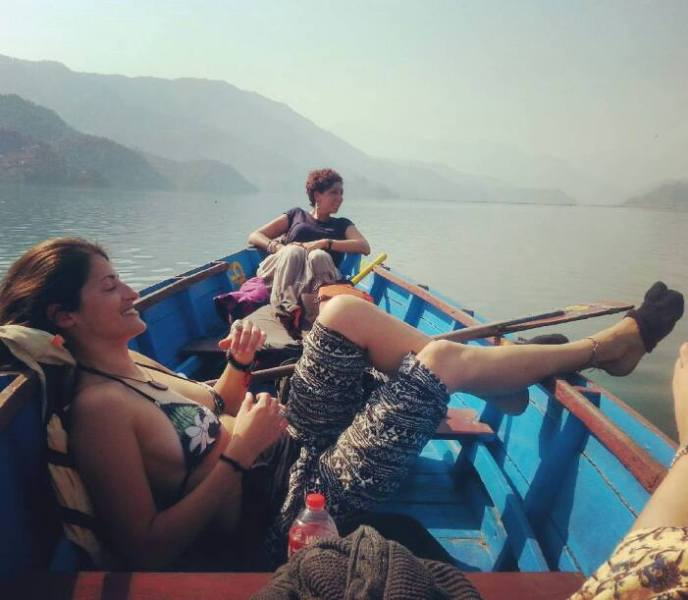 Floating in the middle of Fewa Lake, Pokhara, Nepal