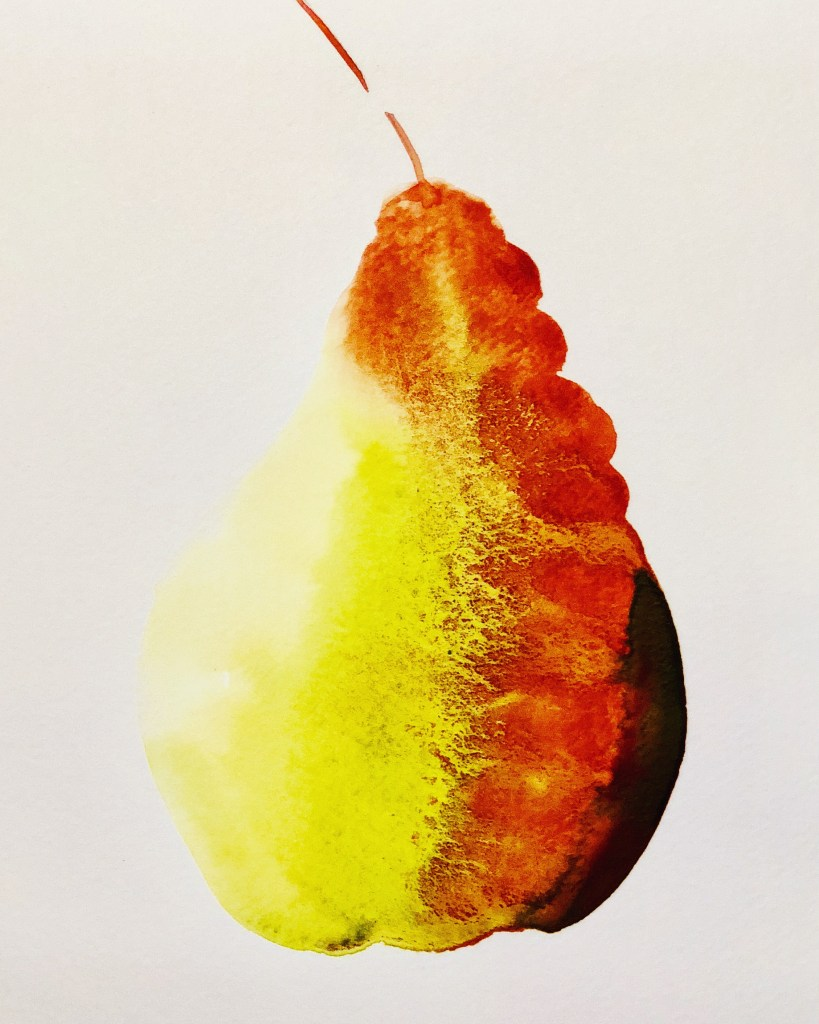 Watercolor Pear Painting, by Denise Genova
