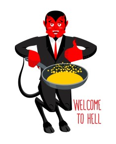 Welcome To Hell. Devil Holding Frying Pan For Sinners. Satan Inv