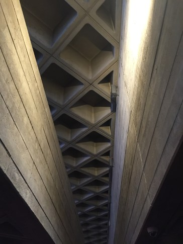 Brutalist ceiling National Theatre London