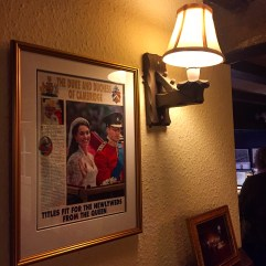 Newspaper clip of Duke and Duchess of Cambridge in Duxford pub