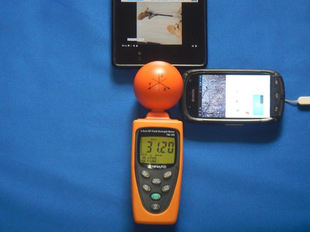 タブレット1台+スマホ1台で電磁波測定