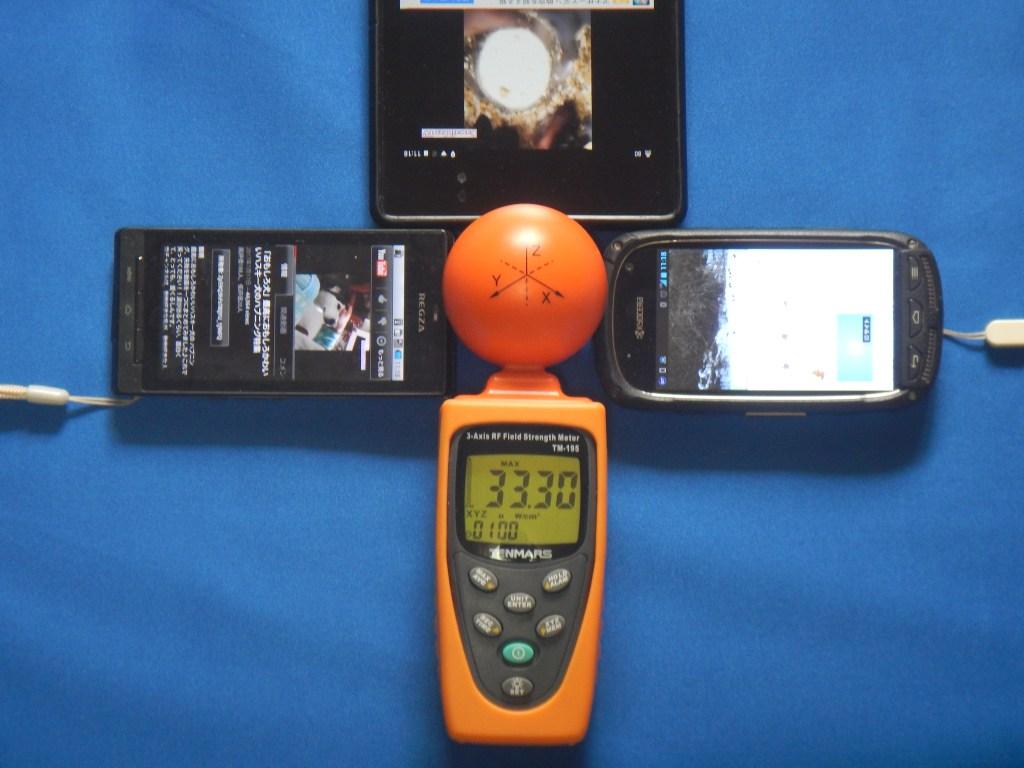タブレット1台+スマホ2台で電磁波測定