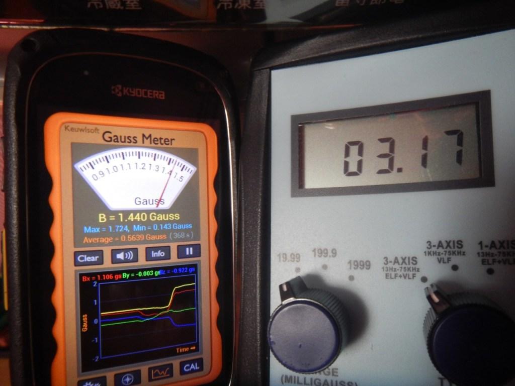 電磁波測定アプリGauss Meterと実際の電磁波測定器の比較写真(冷蔵庫)