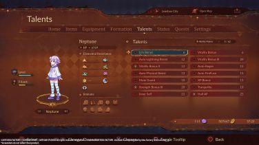 Super Neptunia RPG menu skills