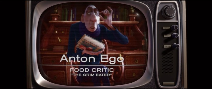 Screenshot: Anton Ego im Fernsehen mit seinem Spitznamen «The Grim Eater»