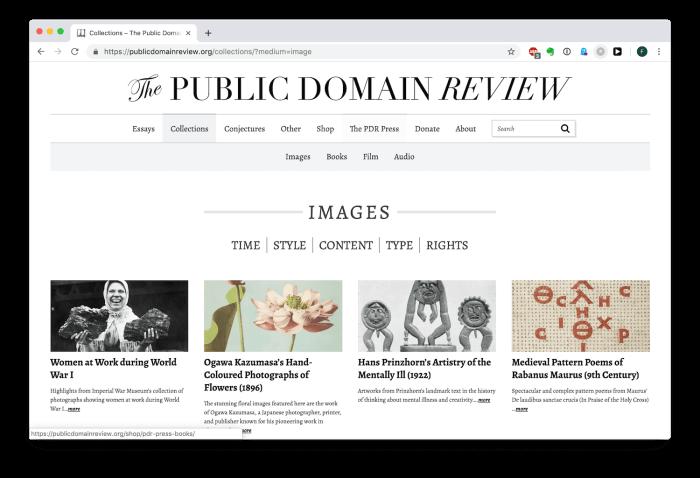 Foto: Homepage von The Public Domain Review