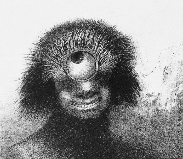 Bild: Odilon Redon, The Deformed Polyp Floated on the Shores, a Sort of Smiling and Hideous Cyclops by the Flower (1883)