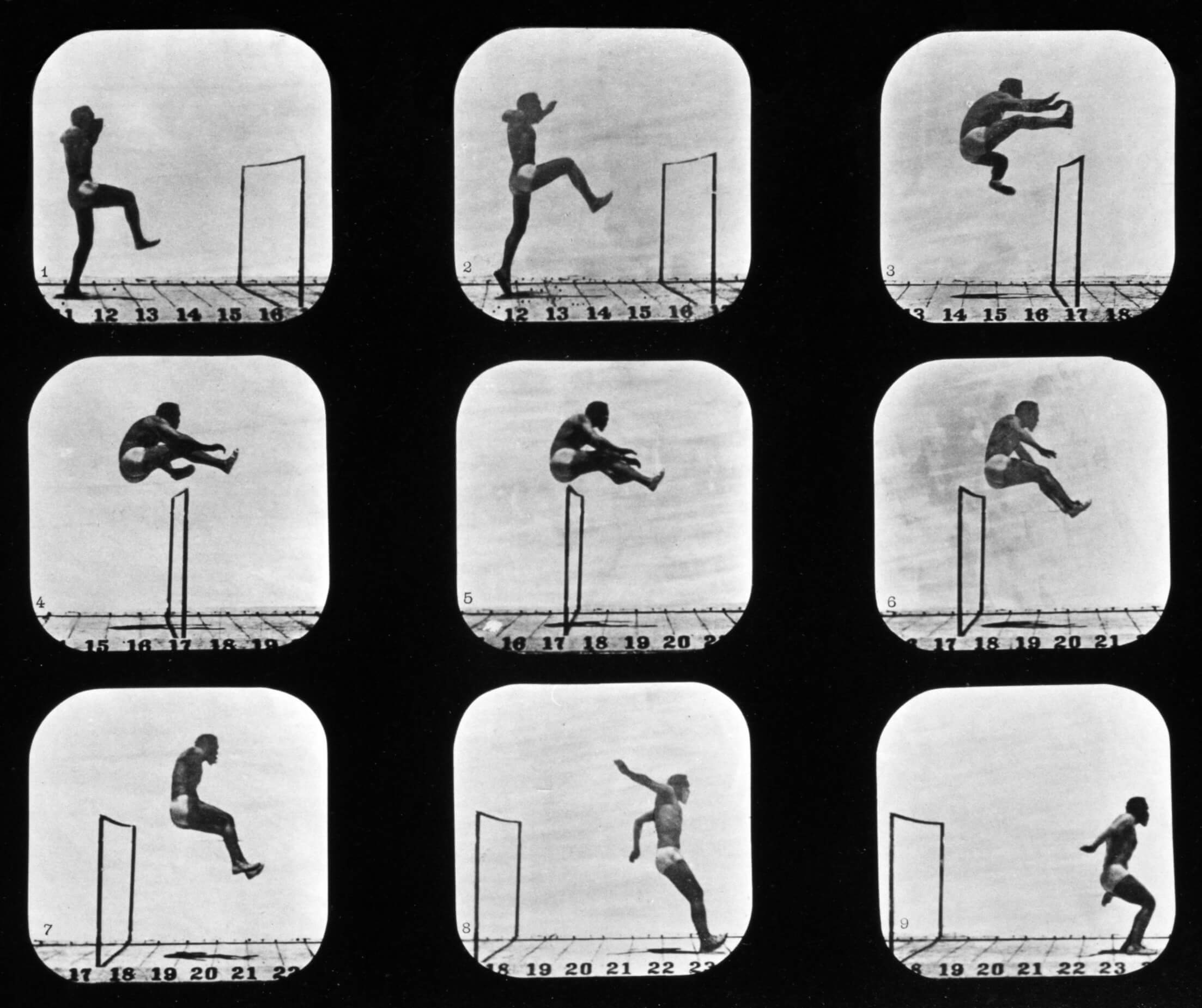 Bild: Eadweard Muybridge - Athletes. Walking High Leap