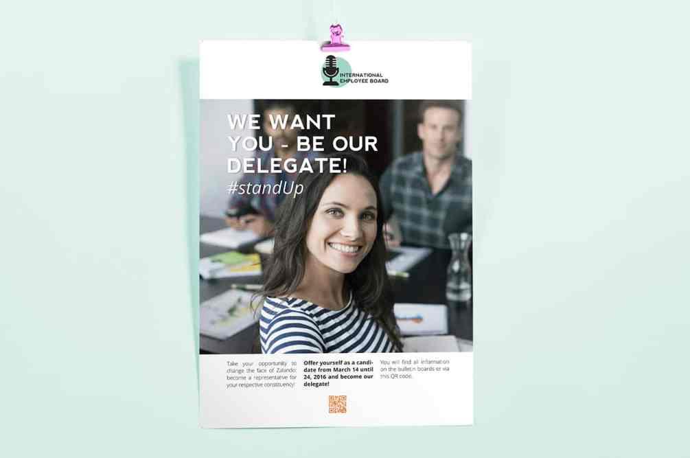 Denken und Handeln – die Konzeptagentur für langfristige Gestaltung hat die Logo-Gestaltung, Flyer- und Plakat-Kampagne mit Call to Action für dasZalando International Employee Board Plakat gestaltet