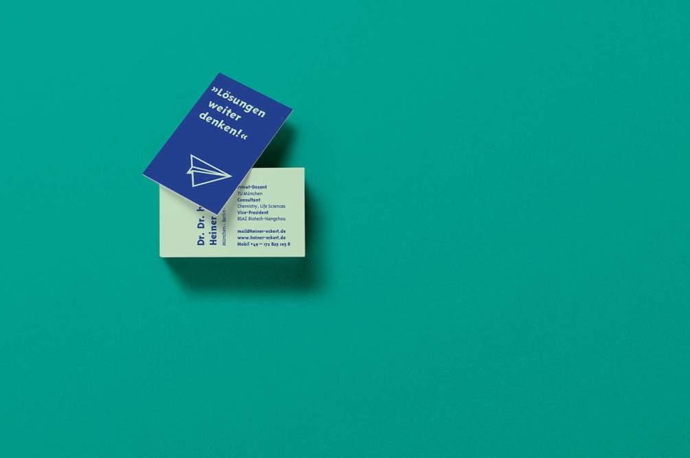 Denken und Handeln – die Konzeptagentur für langfristige Gestaltung hat für Heiner Eckert die Visitenkarten gestaltet